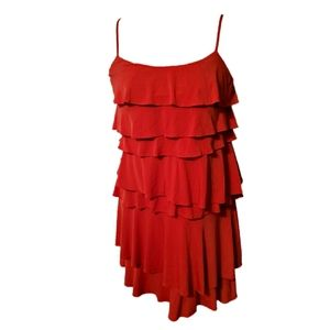 New York & Co. Red Tiered Ruffle Mini Dress